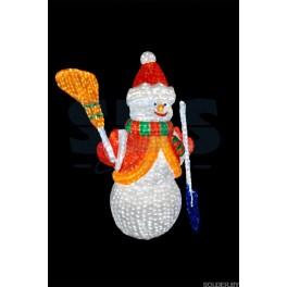 """Акриловая светодиодная фигура """"Снеговик с лопатой и метлой 160см"""" высотой 160 см  IP44"""